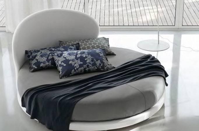 Modern Bedroom Round Beds Kaleido White Headboard Gray