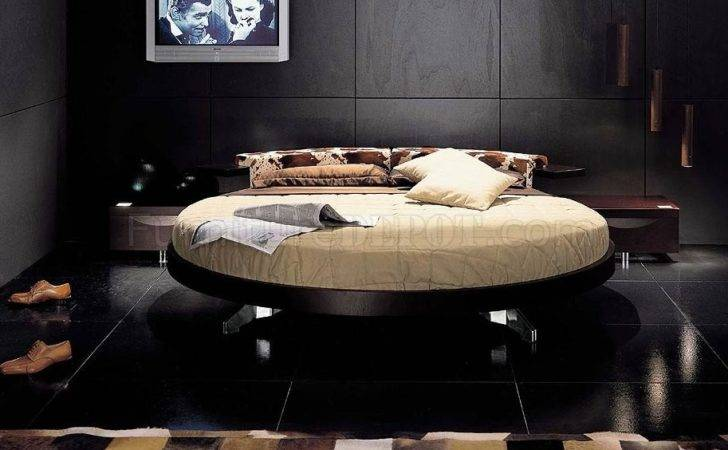 Modern Bedroom Set Round Rotating Bed Wenge Finish Vgbs