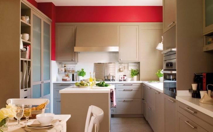 Modern Beige Kitchen Design Red Walls Digsdigs