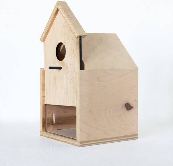 Modern Birdhouse Sliding Front Door Dier Birdhouses