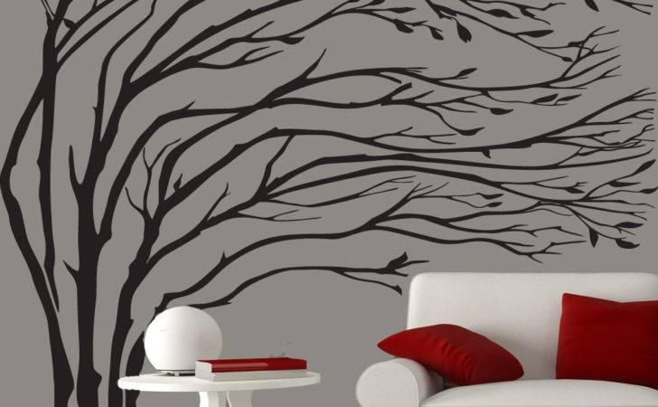 Modern Black Blowing Tree Wall Decal Silhouette Couturedecals