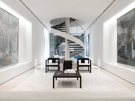 Modern Black White Spiral Staircase