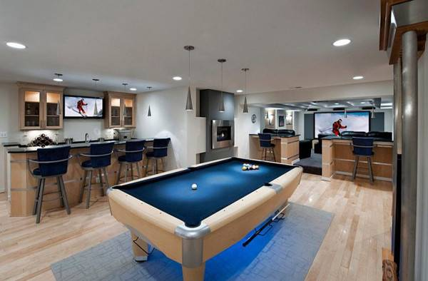 Modern Blue Basement Bar Pool Tables