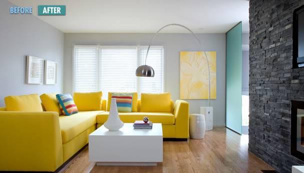 Modern Blue Gray Yellow Living Room Sectional Sofa