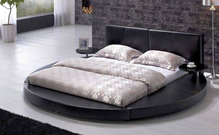 Modern Contemporary Leather Round Bed Black Platform