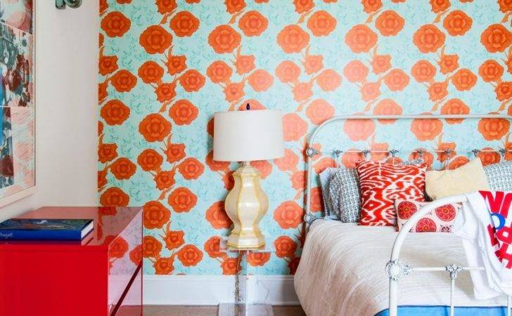 Modern Country Bedroom Bright Floral Red Cabinet