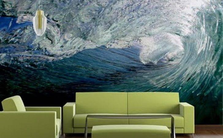 Modern Custom Green Living Room Murals Ideas