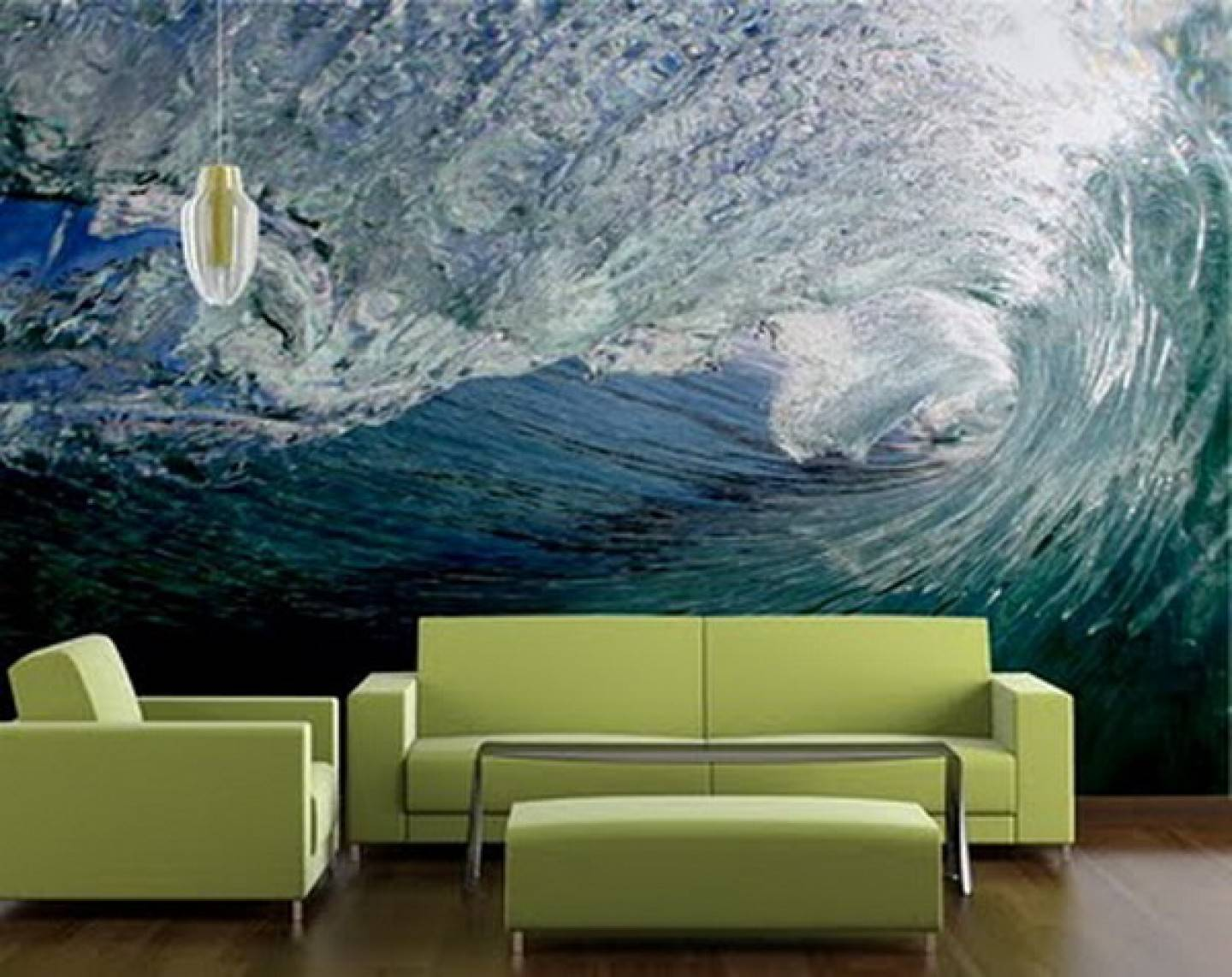 Modern Custom Green Living Room Murals Ideas