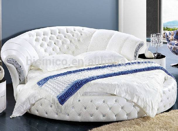 Modern Design Pure White Genuine Leather Round Bed Buy