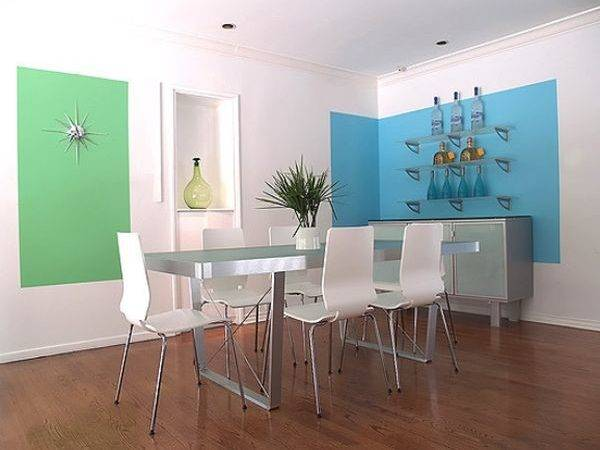 Modern Dining Area White Walls Blue Green