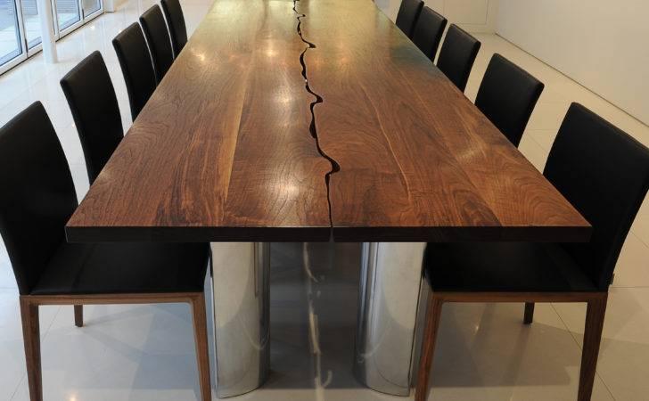 Modern Dining Table Solid Walnut Aluminium Fine Furniture