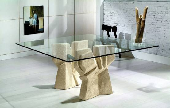 Modern Dining Table Stone Base Vicenza Shapes Diotti