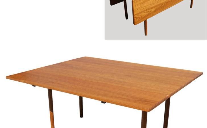 Modern Dining Table Teak Drop Leaf Tapered Wood Legs