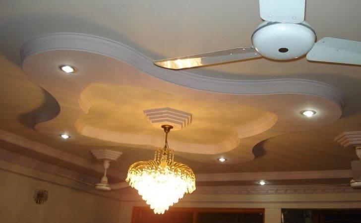 Modern False Bedroom Designs Ceiling Pop White Fan Plafond