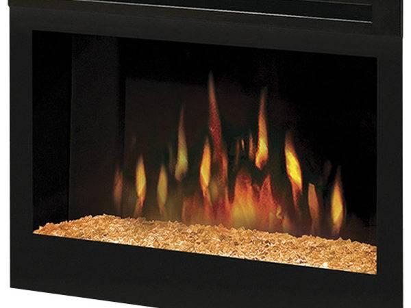 Modern Fire Glass Fills Inner Hearth Electric Fireplace