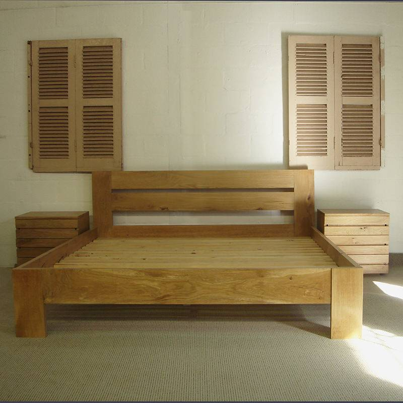 Modern French Oak Bed Doors Drawers Custom Made Furniture
