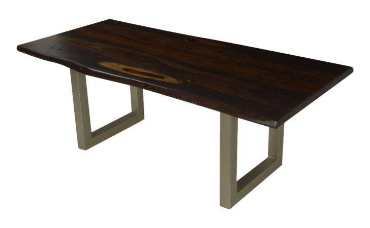 Modern Frontier Acacia Wood Iron Live Edge Dining Table