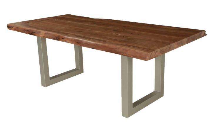 Modern Frontier Blonde Acacia Wood Iron Live Edge Dining Table