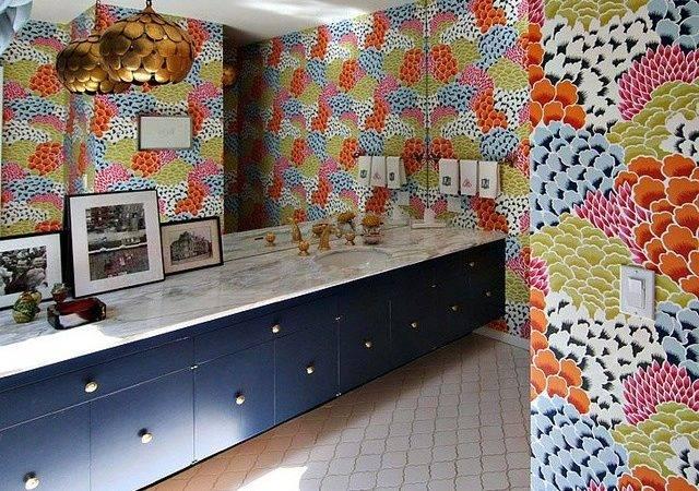 Modern Granny Chic Bathroom Bright Floral