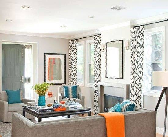 Modern Gray Living Room Turquoise Orange Accents Black
