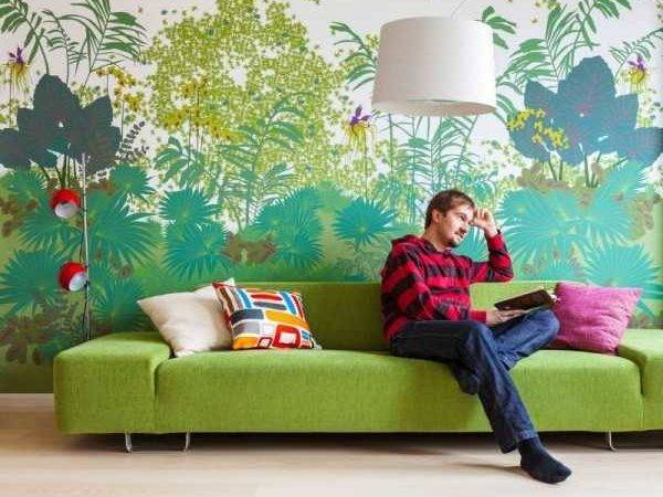 Modern Green Leaf Designs Creating Accent Wall