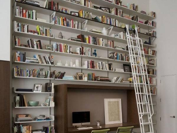 Modern Home Library Design Computer Desk Ladders Glossy Floor Enjoyf