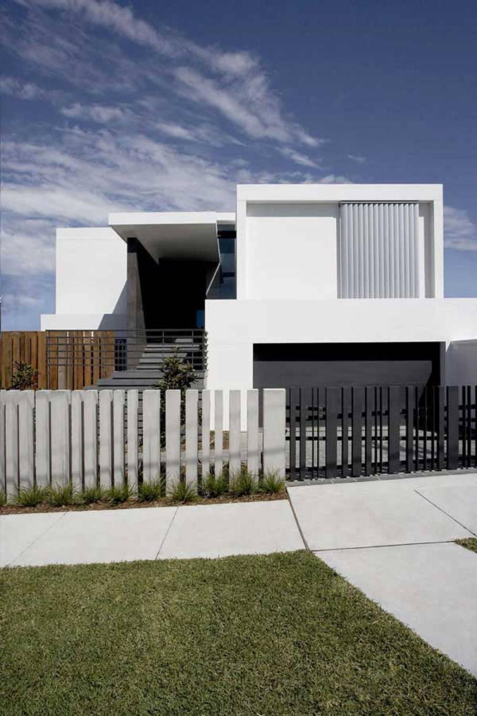 Modern House Design Front Fence Black White Color Olpos