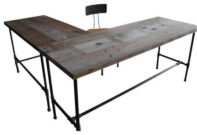 Modern Industry Shape Reclaimed Wood Desk Industrial Desks