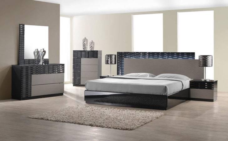 Modern King Bed Platform Frame Led Lighting Headboard Bedroom