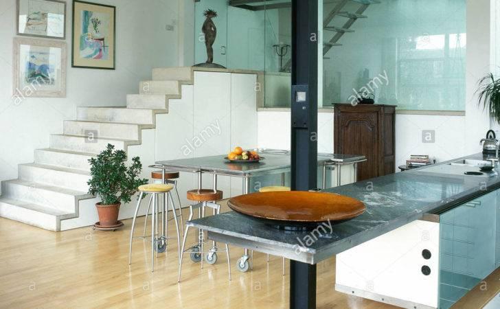 Modern Kitchen Diner Stone Steps Metal Table Tops