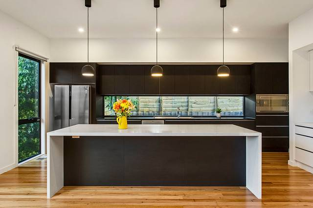 Modern Kitchen Stone Island Bench Feature Lighting