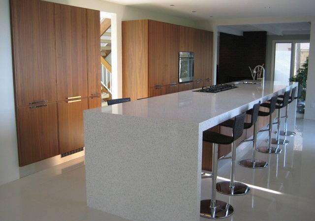 Modern Kitchen White Countertops Walnut Cabinets Contemporary