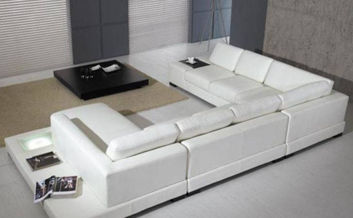 Modern Leather Piece Sectional Sofa White Tosh Furniture