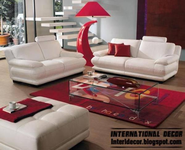 Modern Living Room Red White Decoration Furniture Sofas