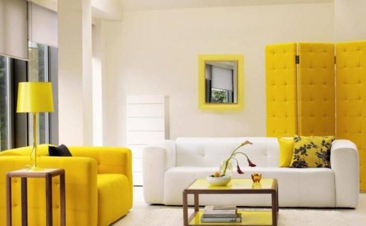 Modern Living Yellow White Room Filled Grey Sofa
