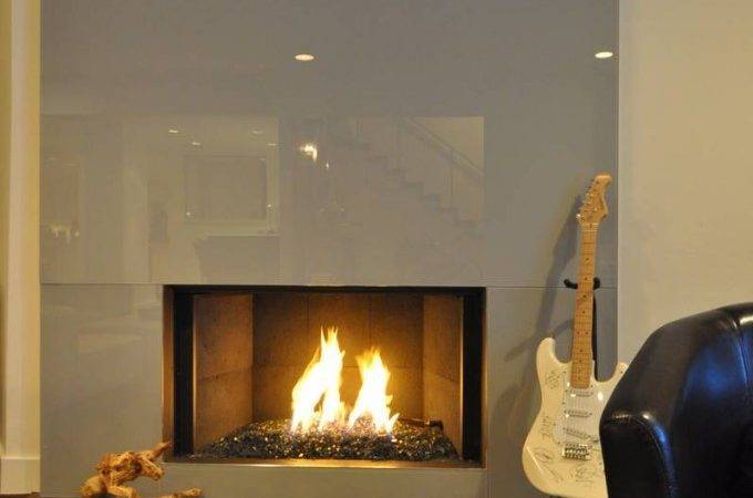Modern Looking Glass Fireplace Gray Color