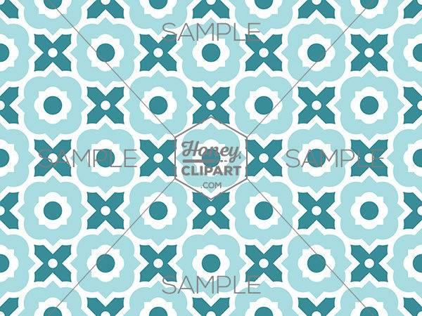 Modern Moroccan Tile Blue Quatrefoil Pattern Honeyclipart