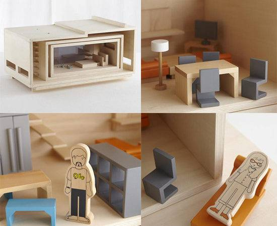Modern Natural Wood Doll House Toys Small Big