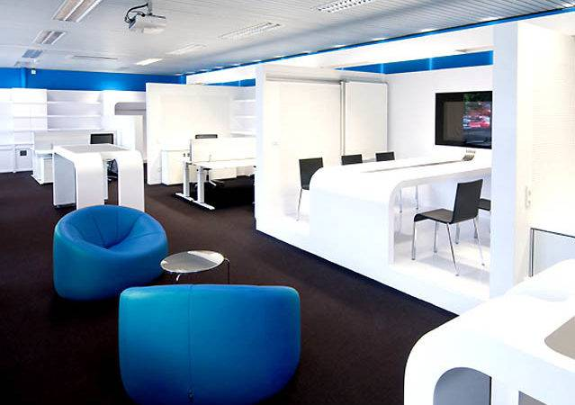 Modern Office Interior Design Stylish Blue Chair Perfect