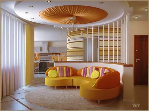 Modern Orange Pop False Ceiling Living Room