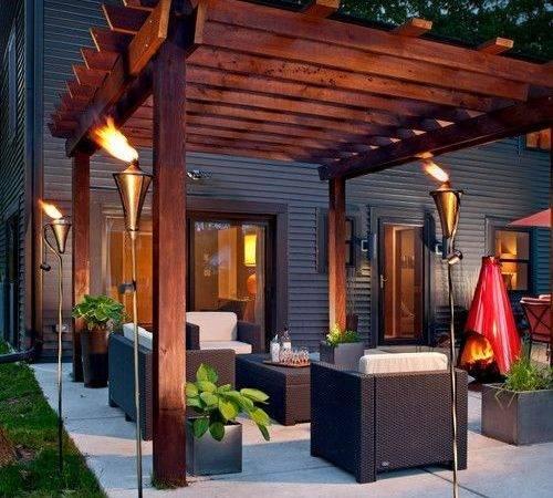 Modern Outdoor Living Room Under Pergola