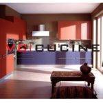 Modern Purple Red Pvc Modular Kitchen