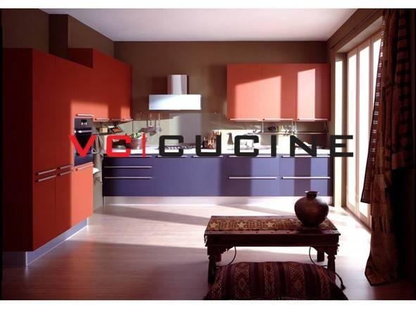 Modern Purple Red Pvc Modular Kitchen