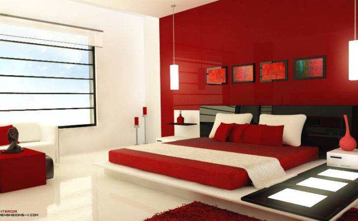 Modern Red Bedroom Accessorized Light Panels Unique
