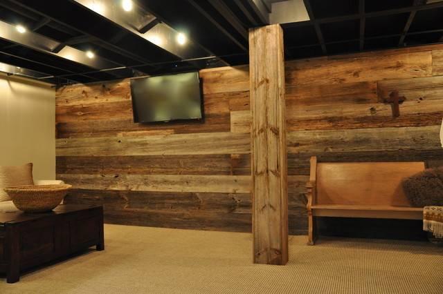 Modern Rustic Basement Chicago Reclaimed Wood