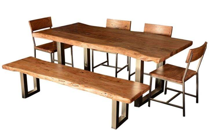 Modern Rustic Furniture Hankin Wood Iron Base Live Edge Dining Table