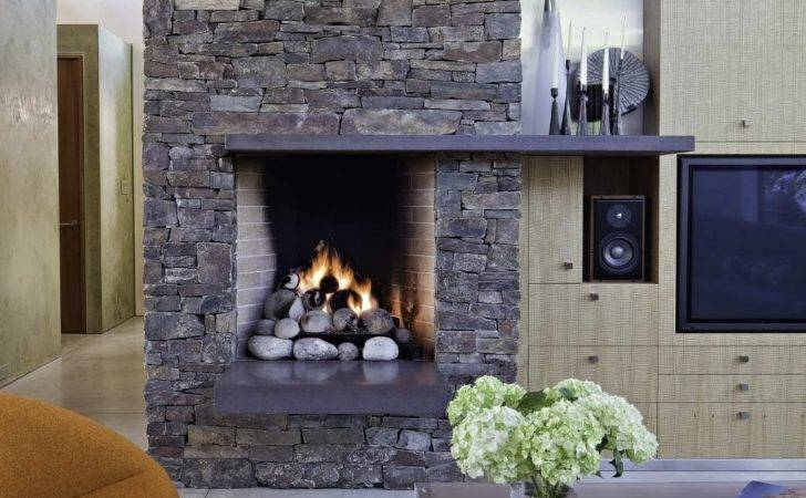 Modern Rustic Stone Fireplace Becuo