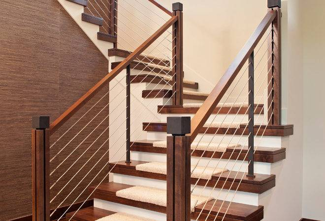 Modern Stair Railing Staircase Contemporary Open Stringer Carpet