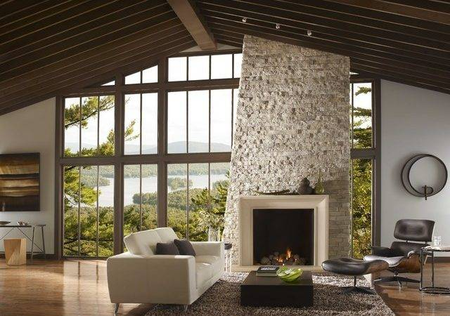 Modern Stone Fireplace Surround Contemporary Living Room