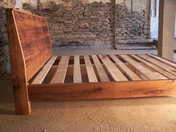 Modern Style Bed Frame Slanted Headboard Barnwoodfurniture